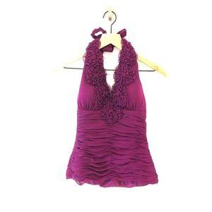 Adrianna Papell purple evening wear halter top 4